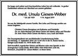 Dr. med. Ursula Giesen-Weber : Traueranzeige