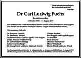 Carl Ludwig Fuchs : Traueranzeige