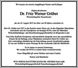 Dr. Fritz Werner Grüber : Unternehmensnachrufe