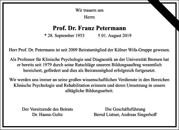 Prof. Dr. Franz Petermann