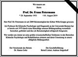 Prof. Dr. Franz Petermann : Unternehmensnachrufe