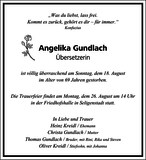 Angelika Gundlach : Traueranzeige