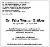 Dr. Fritz Werner Grüber : Traueranzeige