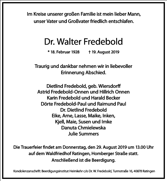 Dr. Walter Fredebold