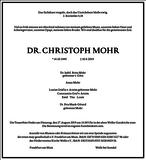 DR. CHRISTOPH MOHR : Traueranzeige