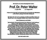 Peter Walter : Traueranzeige