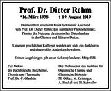 Dieter Rehm : Unternehmensnachrufe
