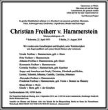 Christian Freiherr v. Hammerstein : Traueranzeige