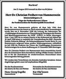 Dr. Christian Freiherr von Hammerstein : Unternehmensnachrufe