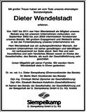Dieter Wendelstadt : Unternehmensnachrufe