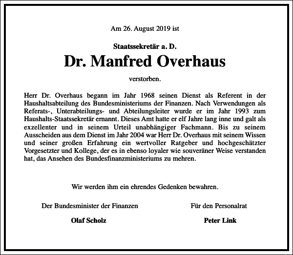 Dr. Manfred Overhaus