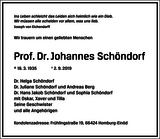 Prof. Dr. Johannes Schöndorf : Traueranzeige