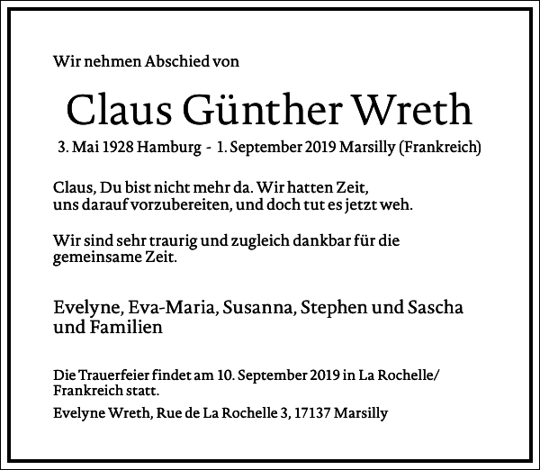 Claus Günther Wreth