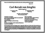 Carl-Berndt von Stieglitz : Traueranzeige