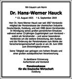 Hans-Werner Hauck : Unternehmensnachrufe