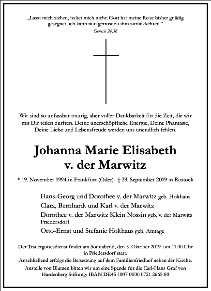 Johanna Marie Elisabeth von der Marwitz
