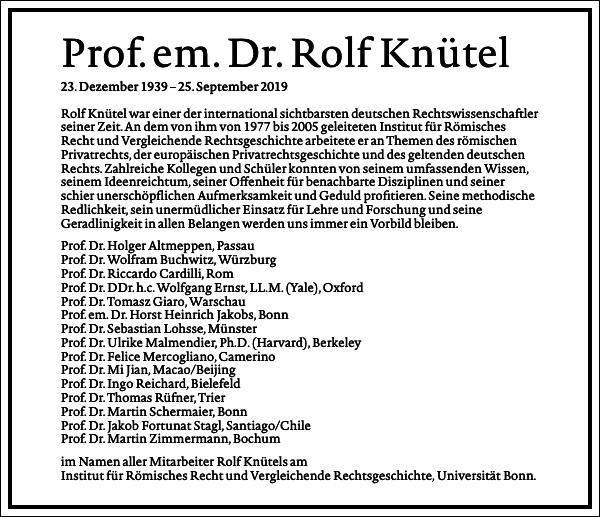 Prof. em. Dr. Rolf Knütel