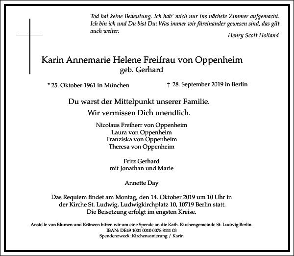Karin Annemarie Helene Freifrau von Oppenheim
