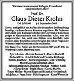 Claus-Dieter Krohn : Traueranzeige