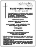 Doris Wymer-Mikus : Traueranzeige