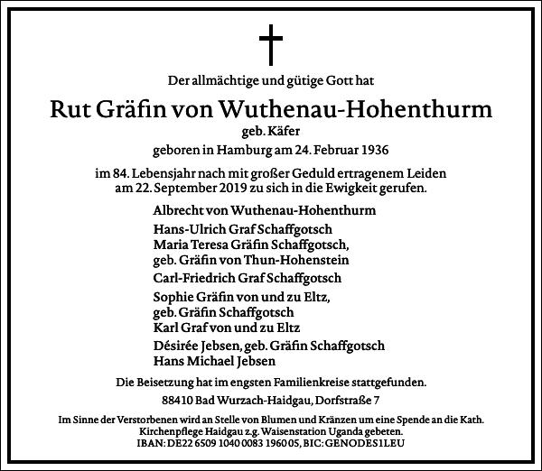 Rut Gräfin von Wuthenau-Hohenturm