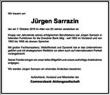 Jürgen Sarrazin : Unternehmensnachrufe