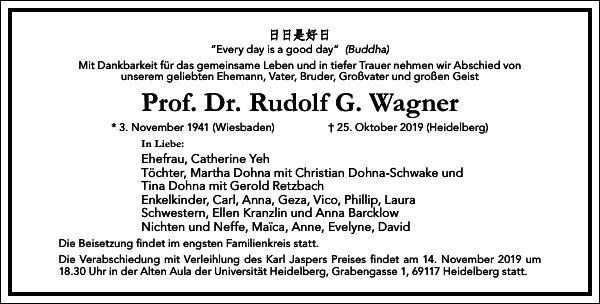 Prof. Dr. Rudolf G. Wagner