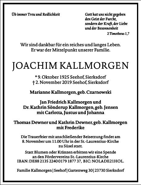 JOACHIM KALLMORGEN