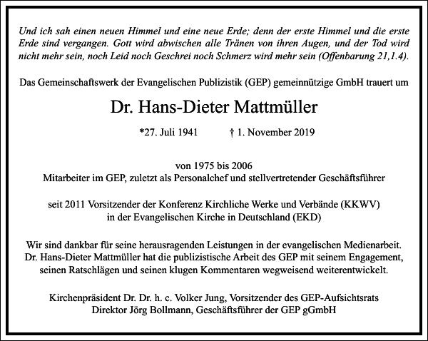 Dr. Hans-Dieter Mattmüller