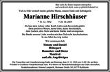 Marianne Hirschhäuser : Traueranzeige