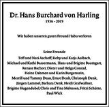 Dr. Hans Burchard von Harling : Traueranzeige