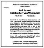 Fritz Freiherr von Weizsäcker : Unternehmensnachrufe