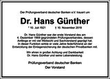 Hans Günther : Unternehmensnachrufe