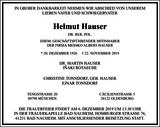 Helmut Hauser : Traueranzeige
