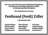 Ferdinand Zöller : Traueranzeige