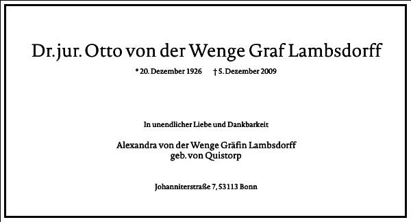 Dr. jur. Otto von der Wenge Graf Lambsdorff