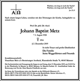 Johann Baptist Metz : Traueranzeige