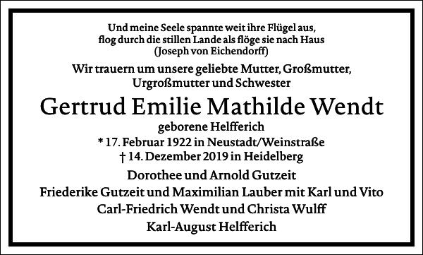 Gertrud Emilie Mathilde Wendt