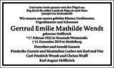 Gertrud Emilie Mathilde Wendt : Traueranzeige