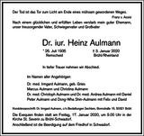 Heinz Aulmann : Traueranzeige