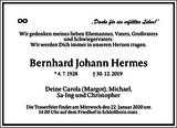 Bernhard Johann Hermes : Traueranzeige