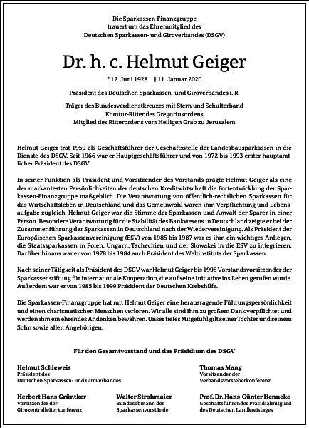 Dr. h. c. Helmut Geiger