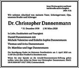 Dr. Christopher Dannenmann : Traueranzeige