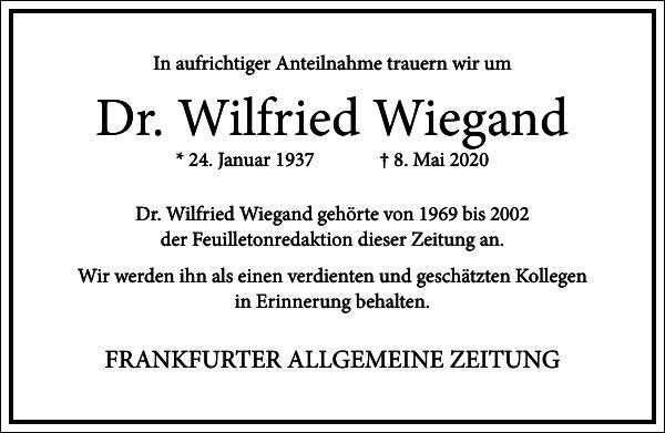 Dr. Wilfried Wiegand