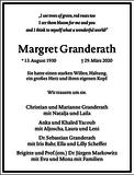 Margret Gertrudis Granderath : Traueranzeige