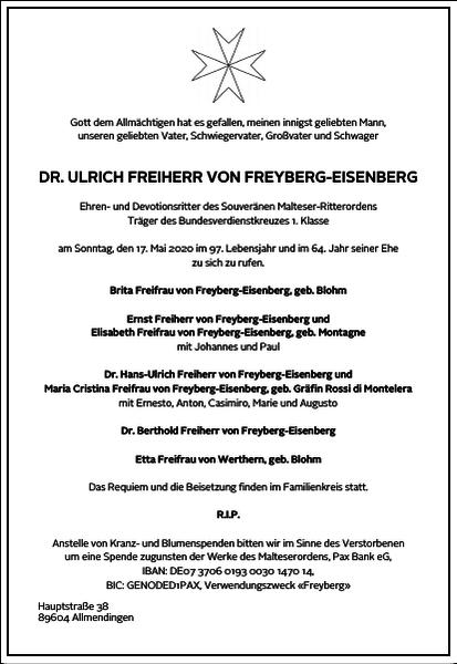 Ulrich Freiherr von Freyberg-Eisenberg