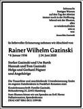 Rainer Wilhelm Gazinski : Traueranzeige