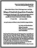 Klaus Friedrich Joachim Francke : Traueranzeige
