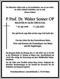 P. Prof. Dr. Walter Senner OP : Traueranzeige