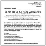 Dr. rer. nat. Dr. h. c. Marie Luise Zarnitz : Traueranzeige